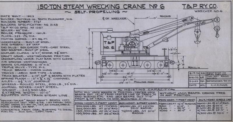 mopac engineering diagrams screaming eagles engineering switch diagram t&p 150 ton steam wrecking crane 6 diagram dated 8 15 56 missouri pacific diagram daryl favignano collection